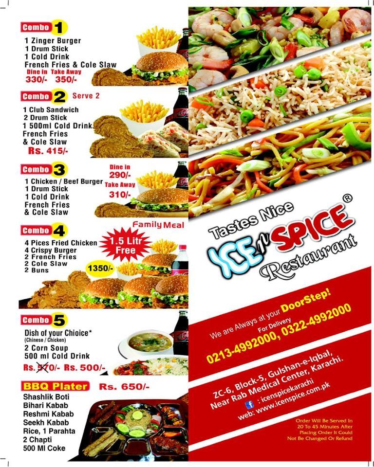 Ice n Spice Menu - Restaurant Menu